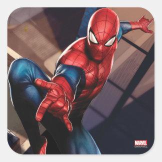 Spider-Man On Skyscraper Square Sticker