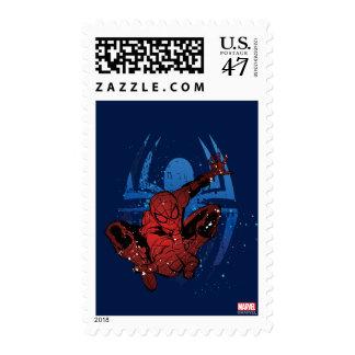 Spider-Man Paint Splatter & Logo Graphic Postage Stamp
