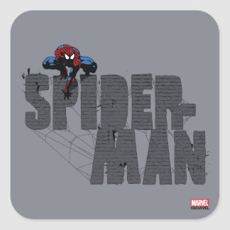 Spider-Man Perched Atop Brick Name Square Sticker