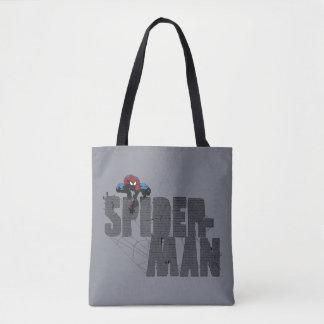 Spider-Man Perched Atop Brick Name Tote Bag