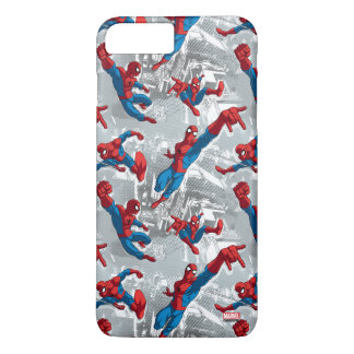 Spider-Man que balancea sobre modelo de la ciudad Funda iPhone 7 Plus