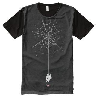 Spider-Man que cuelga de silueta del Web