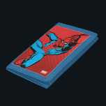 """Spider-Man Retro Swinging Kick Tri-fold Wallet<br><div class=""""desc"""">Check out this vintage Spider-Man character art as he web swings forward with a great big kick!</div>"""
