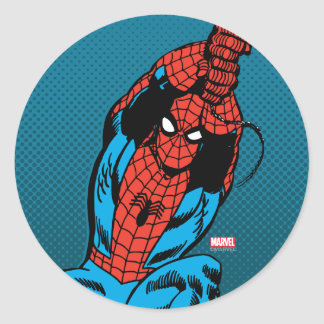 Spider-Man Retro Web Swing Classic Round Sticker