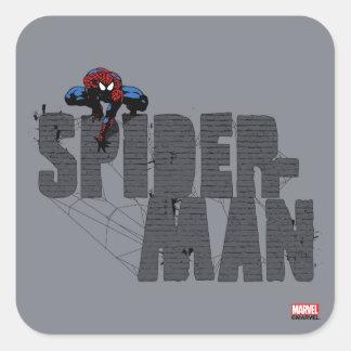 Spider-Man se encaramó encima de nombre del Pegatina Cuadrada