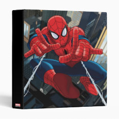 Spider-man Shooting Web High Above City 3 Ring Binder at Zazzle