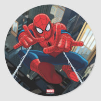 Spider-Man Shooting Web High Above City Classic Round Sticker