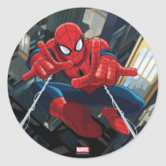 Spider-man Shooting Web High Above City Classic Round Sticker at Zazzle