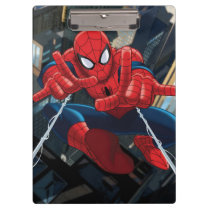 Spider-Man Shooting Web High Above City Clipboard