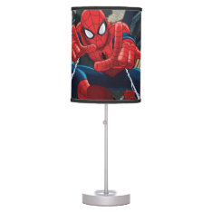 Spider-Man Shooting Web High Above City Desk Lamp at Zazzle