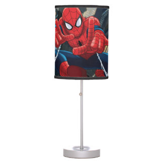 Spider-Man Shooting Web High Above City Desk Lamp