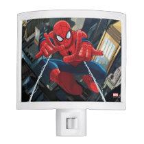 Spider-Man Shooting Web High Above City Night Light