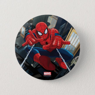 Spider-Man Shooting Web High Above City Pinback Button