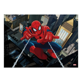 Spider-Man Shooting Web High Above City Poster