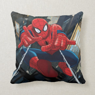Spider-Man Shooting Web High Above City Throw Pillow