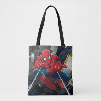 Spider-Man Shooting Web High Above City Tote Bag