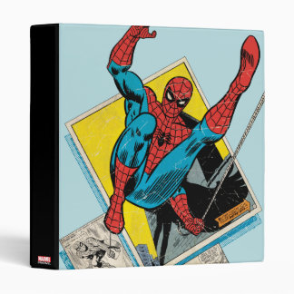 Spider-Man Swinging Out Of Comic Panels Binder