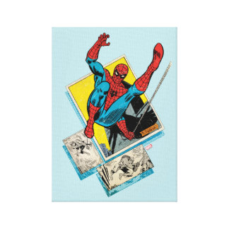 Spider-Man Swinging Out Of Comic Panels Canvas Print