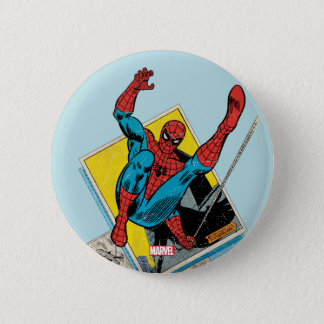 Spider-Man Swinging Out Of Comic Panels Pinback Button
