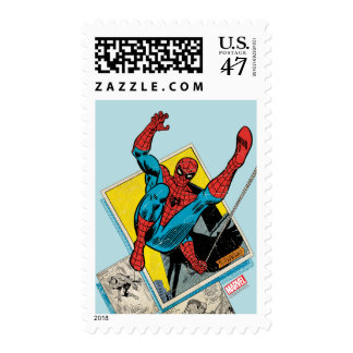 Spider-Man Swinging Out Of Comic Panels Postage