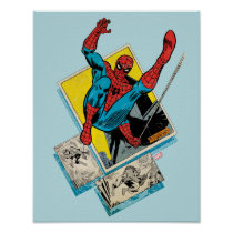Spider-Man Swinging Out Of Comic Panels Poster