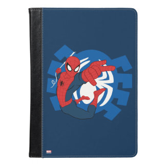 Spider-Man Swinging Over Blue Logo iPad Air Case