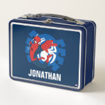 """Spider-Man Swinging Over Blue Logo Metal Lunch Box<br><div class=""""desc"""">Spider-Man 