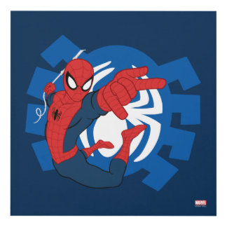 Spider-Man Swinging Over Blue Logo Panel Wall Art