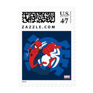 Spider-Man Swinging Over Blue Logo Stamp