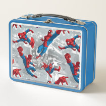 Spider-Man Swinging Over City Pattern Metal Lunch Box