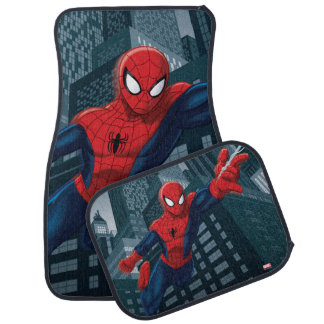 Spider-Man Swinging Through Downtown Car Floor Mat