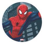 Spider-Man Swinging Through Downtown Classic Round Sticker