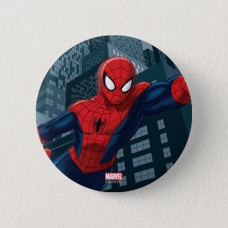Spider-Man Swinging Through Downtown Pinback Button