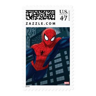 Spider-Man Swinging Through Downtown Postage Stamp
