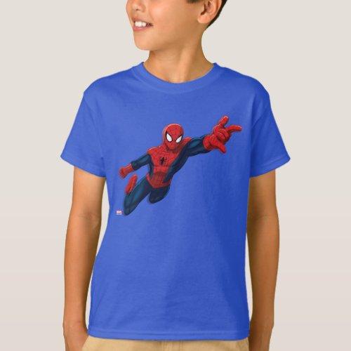 Spider_Man Swinging Through Downtown T_Shirt