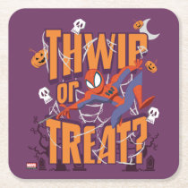 "Spider-Man ""Thwip or Treat?"" Square Paper Coaster"