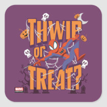 "Spider-Man ""Thwip or Treat?"" Square Sticker"