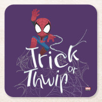 "Spider-Man ""Trick or Thwip"" Square Paper Coaster"