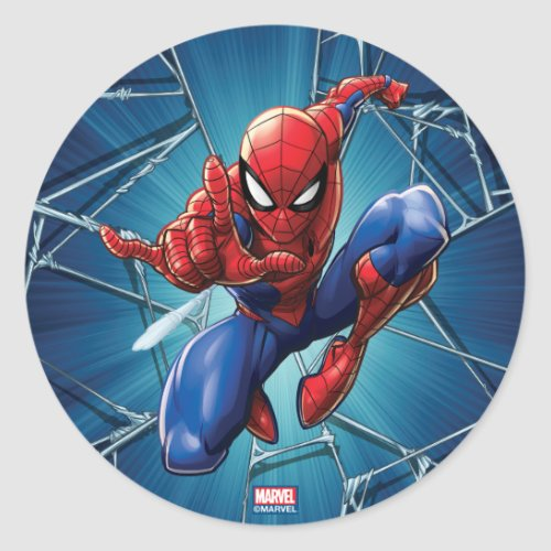 Spider_Man  Web_Shooting Leap Classic Round Sticker