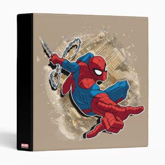 Spider-Man Web Slinging Above Grunge City 3 Ring Binder