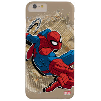 Spider-Man Web Slinging Above Grunge City Barely There iPhone 6 Plus Case