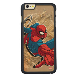 Spider-Man Web Slinging Above Grunge City Carved Maple iPhone 6 Plus Case