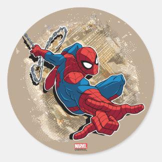 Spider-Man Web Slinging Above Grunge City Classic Round Sticker