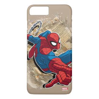 Spider-Man Web Slinging Above Grunge City iPhone 8 Plus/7 Plus Case