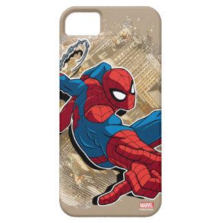 Spider-Man Web Slinging Above Grunge City iPhone SE/5/5s Case