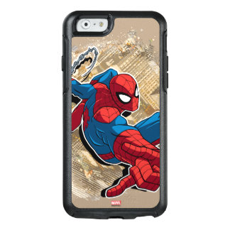Spider-Man Web Slinging Above Grunge City OtterBox iPhone 6/6s Case