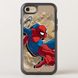 Spider-Man Web Slinging Above Grunge City OtterBox Symmetry iPhone 8/7 Case