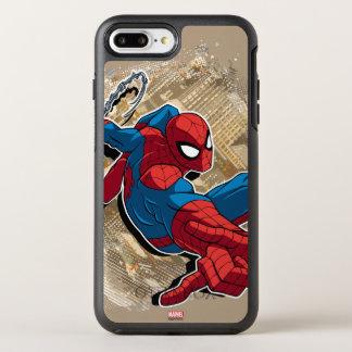Spider-Man Web Slinging Above Grunge City OtterBox Symmetry iPhone 8 Plus/7 Plus Case