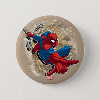 Spider-Man Web Slinging Above Grunge City Pinback Button