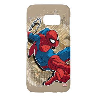 Spider-Man Web Slinging Above Grunge City Samsung Galaxy S7 Case